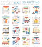 网的Infographics微型概念3d打印技术象 优质质量颜色概念性平的设计网 免版税库存照片