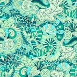 网眼图案mehndi种族装饰品 冷漠谨慎镇定的主题,能用的乱画的五颜六色的和谐设计 向量 免版税库存照片