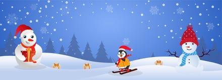 网站与逗人喜爱的企鹅骑马的倒栽跳水或横幅设计在skat 向量例证