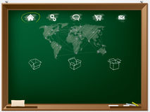 网站在黑板得出的设计模板 免版税图库摄影