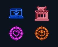 网站教育、商店和华伦泰瞄准象 跟踪标志的小包 录影学会,商店,在目标的心脏 库存例证