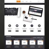 网站模板与现实静物画例证,片剂,咖啡,笔记本的传染媒介设计 免版税库存图片
