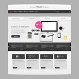 网站模板与现实静物画例证,片剂,咖啡,笔记本的传染媒介设计 库存照片