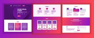 网站模板传染媒介 页企业接口 着陆网页 敏感Ux设计 机会形式 创造性 皇族释放例证