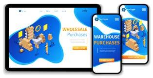 网站模板着陆页等量概念仓库工作流,批发购买,交换,支持24 7 向量例证