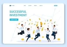 网站模板着陆页等量概念经营分析,成功的投资,团队工作,雇员跳跃 向量例证