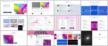 网站的传染媒介模板设计,最小的介绍,与充满活力的五颜六色的抽象梯度的股份单 向量例证