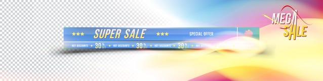 网站的超级销售横幅 与梯度和折扣的横幅30与色的存钱罐透明的和  免版税库存图片