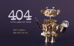 网站的错误404页没被找到的模板 蒸有screaw司机和电灯泡灯的低劣的样式玩具机器人 免版税库存图片