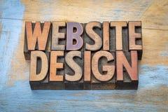 网站设计在木类型的词摘要 免版税库存图片