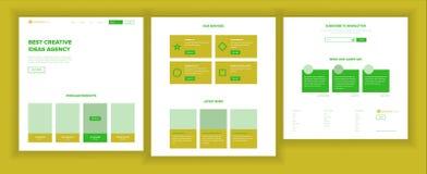 网站设计模板传染媒介 企业接口 着陆网页 专业小组 监视和优化 向量例证
