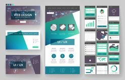 网站设计模板和接口元素 免版税库存照片
