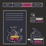 网站设计菜单在意想不到的样式的航海元素与 库存照片