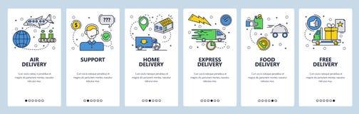 网站onboarding的屏幕 家庭明确和航空邮寄 菜单传染媒介网站和流动应用程序的横幅模板 皇族释放例证