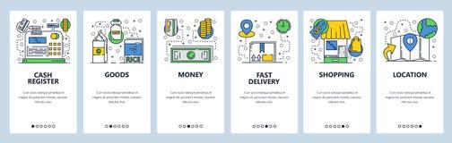 网站onboarding的屏幕 网络购物和现款支付 菜单传染媒介网站和流动应用程序的横幅模板 库存例证