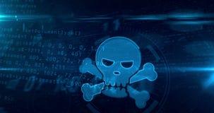 网络与头骨标志的攻击概念 库存例证