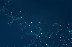 网络与小点的摘要在蓝色背景的连接和线 网络通信Wireframe  向量例证
