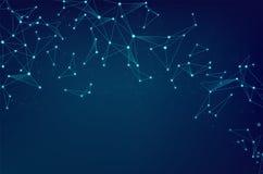 网络与小点的摘要在蓝色背景的连接和线 网络通信Wireframe  皇族释放例证