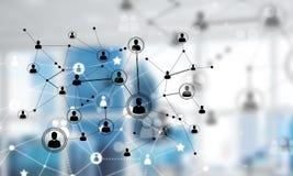 网络和连接的概念反对现代办公室弄脏了背景 图库摄影