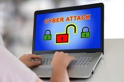 网络在膝上型计算机的攻击概念 库存照片
