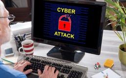 网络在计算机上的攻击概念 图库摄影