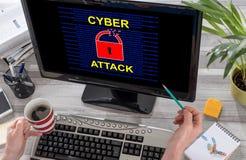 网络在计算机上的攻击概念 库存图片