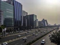 网络城市或Cyberhub建筑学在古尔冈,新德里,印度 库存图片