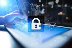 网络安全、数据保护、信息安全和加密 互联网技术和企业概念 皇族释放例证