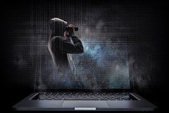 网络安全和计算机犯罪 混合画法 库存照片
