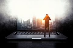 网络安全和计算机犯罪 混合画法 库存图片