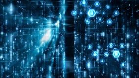 网络安全概念摘要背景在六角形形状的锁垫与连接线微粒和光线影响浮游物 库存例证