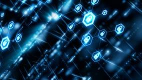 网络安全概念摘要背景在六角形形状的锁垫与连接线微粒和光线影响浮游物 向量例证