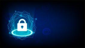 网络安全的概念与关键象传染媒介的在黑暗的背景 免版税库存照片