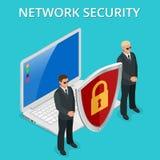 网络安全计算机安全,个人通入通过手指,用户授权,注册,保护技术传染媒介 免版税库存图片
