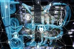 网络安全,信息保密性,在现代服务器室背景的数据保护概念 互联网和数字技术骗局 库存图片