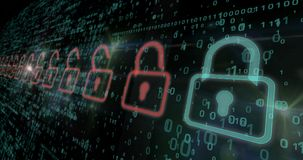 网络安全-红色和绿色挂锁 免版税库存图片