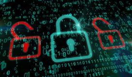 网络安全-绿色挂锁 库存照片