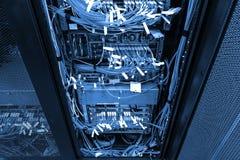 网络插孔和补丁UTP在机架内阁的LAN缆绳有黑暗冷蓝色定调子的 库存图片