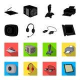 网络摄影,耳机, USB缆绳,处理器 在黑色的个人计算机的集合汇集象, flet样式传染媒介标志股票 免版税图库摄影