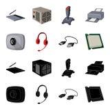 网络摄影,耳机, USB缆绳,处理器 在黑色,动画片样式传染媒介标志的个人计算机的集合汇集象 免版税库存图片