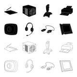网络摄影,耳机, USB缆绳,处理器 在黑色,概述样式传染媒介标志的个人计算机的集合汇集象 免版税库存照片