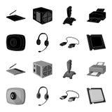 网络摄影,耳机, USB缆绳,处理器 在黑,单色样式传染媒介标志的个人计算机的集合汇集象 库存图片