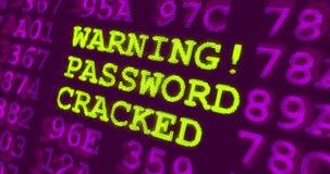 """网络攻击紫外警告†""""警告的密码崩裂了 免版税库存照片"""