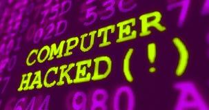 网络攻击紫外警告-被乱砍的计算机 库存图片