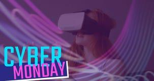 网络星期一发短信和使用虚拟现实耳机4k的妇女 影视素材