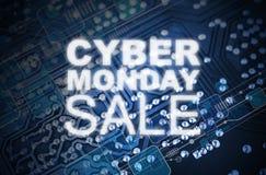 网络星期一在技术蓝色电路板的销售设计 免版税库存图片
