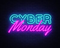 网络星期一在时兴的霓虹样式的概念横幅,光亮牌,网络销售折扣每夜的广告  库存例证