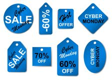 网络星期一销售标签和标记 向量例证
