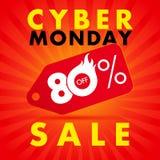 网络星期一销售标签横幅黄色在藏青色背景50%担任主角  免版税库存照片