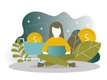 网络购物和流动付款登陆的页模板网页的 向量例证